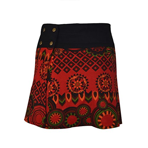Wrap ronde Jupe Hippy Popper de Tattopani Mode Multicolor Femmes Rouge