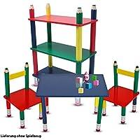 Preisvergleich für etc-shop Kinder Möbel Set Tisch Gruppe Stühle Massiv Holz bunt Lackiert Spiel Zimmer Mobiliar Stand Regal Bleistift Kindermöbel