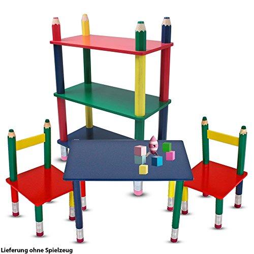 Zimmer Stuhl (etc-shop Kinder Möbel Set Tisch Gruppe Stühle Massiv Holz bunt lackiert Spiel Zimmer Mobiliar Stand Regal Bleistift Kindermöbel)