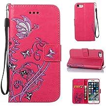 Ooboom® iPhone 5SE Funda Flor Mariposa Magnético Flip Wallet Case Cover Carcasa Piel PU Billetera Soporte para iPhone 5SE - Rosa Caliente
