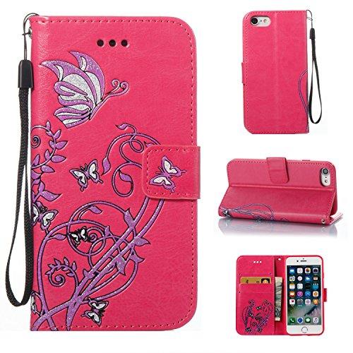 Para iPhone 7/7G (4,7 zoll) funda, (Rose Red) Narcisos caja del teléfono de la PU patrón en relieve ,Función de Soporte Billetera con Tapa para Tarjetas correa de mano soporte para teléfono
