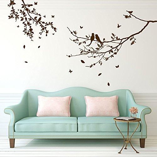 Bird & Tree Wandaufkleber Alphabet, Buchstaben, Kinder, Kinderzimmer, Spielzimmer, für Fenster/ Wand, entfernbar, farbenfroh., Vinyl, braun, Large