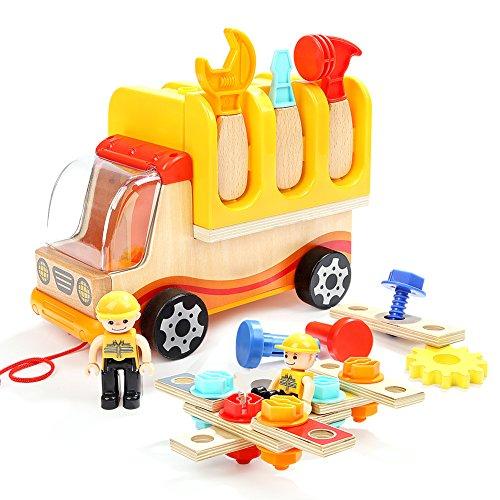 Per Kinder Holz Werkzeug Lkw Kit Nehmen Sie Pädagogisches Spiel Set Mit Spanner Hammer Bolt Fahrer...