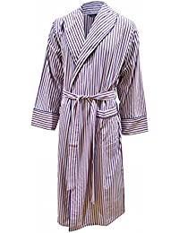 Lloyd Attree & Smith Men's Lightweight Cotton Dressing Gown - White With Thin Red & Blue Stripes