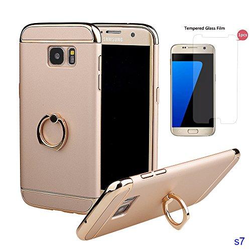 Hülle für Samsung S7, xhorizon FM8 3 in 1 ultra dünn hart Schutz Stilvoll Tasche für Samsung Galaxy S7 mit 360 Grad Drehbar Ring Ständer mit einem 9H Ausgeglichen Glas Film Golden mit einem 9H temperierten Glasfilm