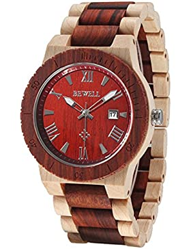 Alienwork Quarz Armbanduhr massive Naturholz Uhr Herren Uhren handgefertigt modisch Rotes Sandelholz Holz rot...