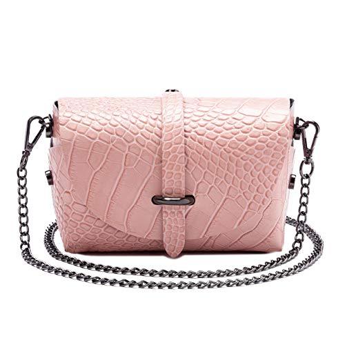 Parubi, borsa donna a tracolla, in vera pelle stampa coccodrillo, made in italy, modello iris, borsetta piccola con catena pochette a tracolla clutch da donna ragazza elegante, rosa cipria cocco