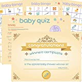 4 Baby Shower Games Pack: Bingo, Charades, Quiz, Trivia & Winners Certificate. 20 players. Gender reveal games, baby naming party games. Neutral design.