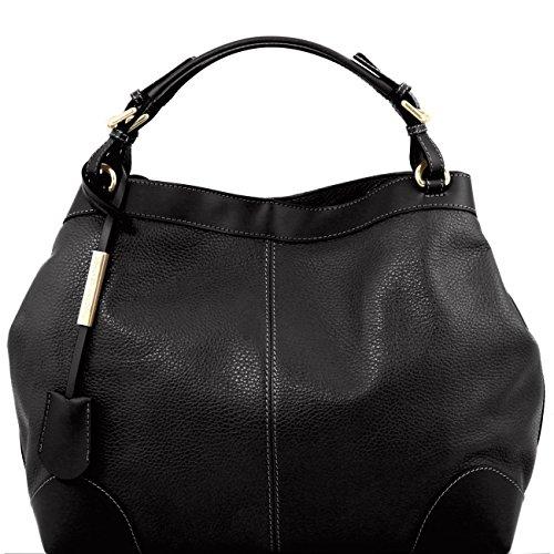 Tuscany Leather Ambrosia - Borsa in pelle morbida con tracolla Rosso Borse donna a mano in pelle Nero
