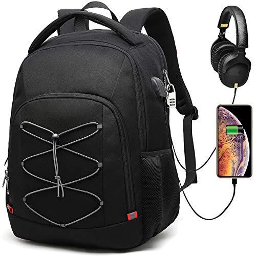 Della Gao Zaino Antifurto TSA Friendly Zaino Porta PC Uomo Lavoro Impermeabile USB Zaini Laptop 17.3 Pollici Computer Notebook Portatile Borsa Multifunzionale Casual Viaggio Bussiness Nero