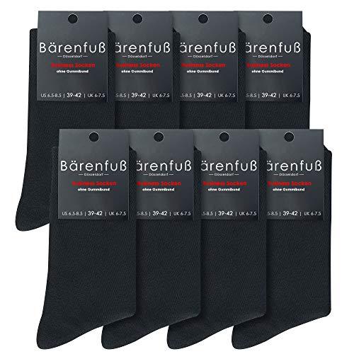 Bärenfuß Herren & Damen Socken - 8 Paar ohne Gummibund - Premium Qualität Dank Gekämmter Baumwolle (Schwarz 39-42) -