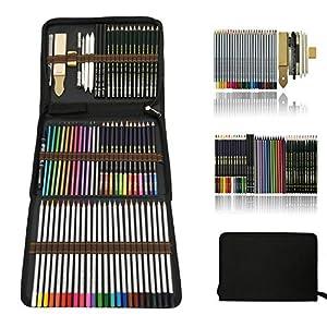 Aquarell Bleistifte,Buntstifte Farbstifte Skizzieren Kunst Set,zeichnen zubehör set und federmäppchen groß,zeichnen bleistiftzeichnungen für Künstler Anfänger Schüler