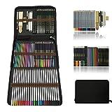Professionnel Colore Crayons de Dessin Art Set - Malette dessin Inclus pastel, aquarelle, Charbon de bois,métallique crayons de couleur et materiel dessin,Idéal Cadeaux pour Adulte Enfant...
