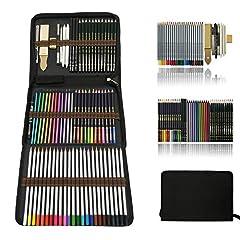 Idea Regalo - Zzone Matite Colorate Artistico Kit per Schizzo e Disegno,Disegni a Matite,Pastelli Acquarellabili,Matite Colorate,Creativa Colori Art Set Fornire a Artista Professionale e Principianti