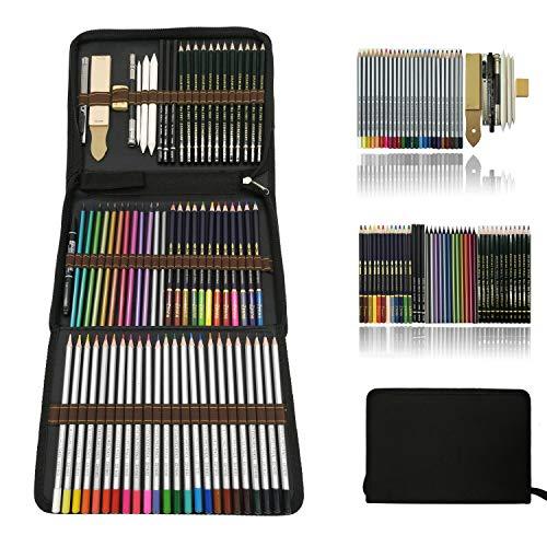 Zzone matite colorate artistico kit per schizzo e disegno,disegni a matite,pastelli acquarellabili,matite colorate,creativa colori art set fornire a artista professionale e principianti