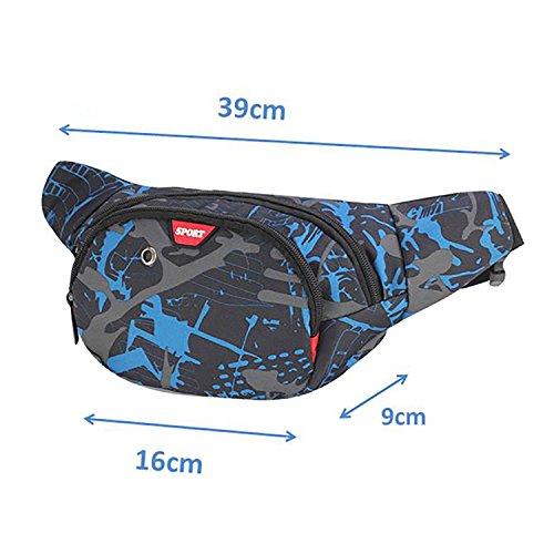 Marsupio Impermeabile di Pelle con 3 Zip-Marsupio per viaggio, Escursioni, Sport all'aperto, e per la Vacanza (Nero) Blu