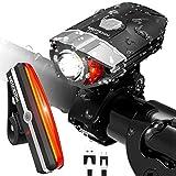 HODGSON Fahrradlicht USB Wiederaufladbare Fahradbeleuchtung Fahrradlampen Set, Superhelle Fahrrad Frontlicht & LED Rücklicht, Spritzwassergeschützt und Einfache Montage für Sicheres Radfahren