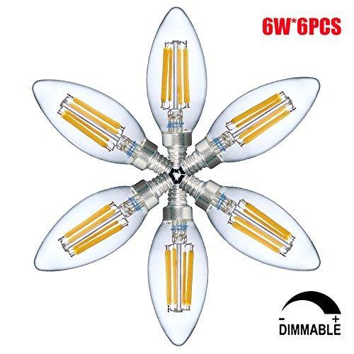 6W LED Lampe E14 Dimmbar LED Birne C35 Energiesparleuchtmittel, warmweiß (6er-Pack)