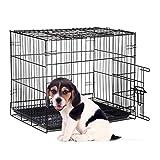 Relaxdays Hundekäfig faltbar, Auto Transportbox, Welpenkäfig, für mittlere Hunde, Metall Gitterbox  Schale, M, schwarz