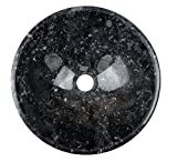 Waschbecken Waschschale Material 100% Naturstein, Aufsatzwaschbecken Handwaschbecken Marmor/Granit, rund, Farbe: schwarz, Durchmesser 35 cm