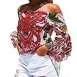CLOOM Elegantes Top für Frauen reizvolle Weg von der Schulter-Aufflackern-Hülsen-Druck-Bluse übersteigt buntes Kleidungs-T-Shirt Sexy trägerloses Bluse Bohemian Printed Trompete Ärmel Oben (M, rot)