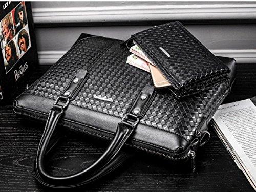 Kunstleder mode weisehandtasche horizontaler abschnitt koreanische schulterbeutelfreizeit strickende aktenkoffer(Schwarzes) Braun