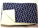 Babydecke - ANKER AUF BLAU - 100 x 70 cm - Baumwolle & Fleece - personalisierbar - Kuscheldecke für Babybett oder Kinderwagen - Geschenk Geburt Taufe Kindergarten Geburtstag Weihnachten