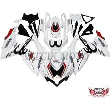 VITCIK (Kit de Carenado para Suzuki GSXR600-750 K8 2008 2009 2010 GSXR 600 750 K8 08 09 10) Accesorios de repuesto para bastidor y carrocería con completo para motocicleta y moldeo por inyección en ABS(Blanco & Negro) A063