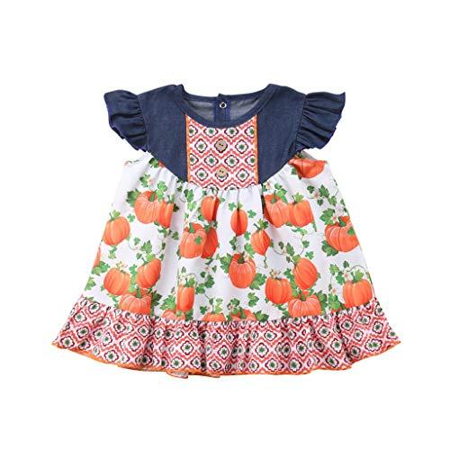 Kostüme Kinder Baby Mädchen Flare Ärmel Kleid Mädchen Festlich Bowknot Kürbis Gedruckt Kleidung Splicing Kleid Schwestern Halloween Kostüme für Kinder ()