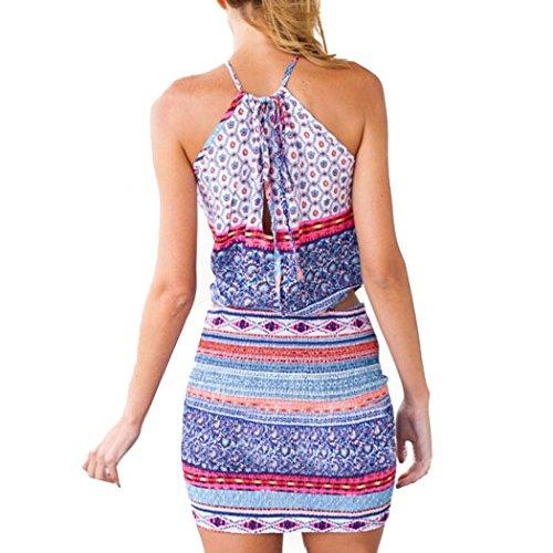 ZEARO Damen Blumen Sexy Minikeid Partykleid Sommerkleid Strandkleid kurz Kleid Bunt