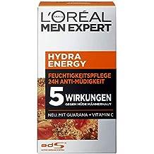 L'Oreal Men Expert Hydra Energy Feuchtigkeitspflege, 24H Anti-Müdigkeit, mit Guarana und Vitamin C, 2er Pack (2 x 50 ml)