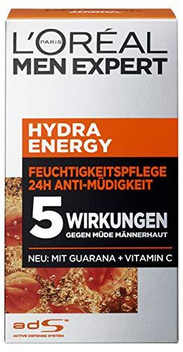 L\'Oreal Men Expert Hydra Energy Feuchtigkeitspflege, 24H Anti-Müdigkeit, mit Guarana und Vitamin C, 2er Pack (2 x 50 ml)