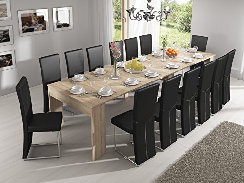 Home innovation - tavolo consolle allungabile fino a 301cm, rovere chiaro, dimensioni chiusa: 90 x 49 x 75 cm.