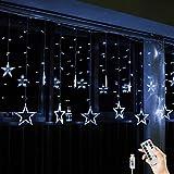 BLOOMWIN Lichtervorhang 12er Sterne Lichterkettenvorhang USB 2x1M 138LEDs 8Modi Stimmungslichter Weihnachtsbeleuchtung für Fenster Tür Innen Sternenvorhang Kaltweiß