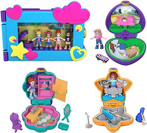 Polly Pocket Marco de fotos con 3 mini cofres, muñecas con accesorios (Mattel FXM65)