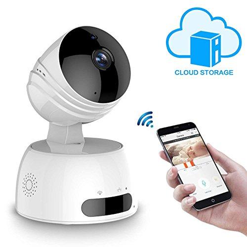 Leshp telecamera di sorveglianza 720p wireless ip camera,obiettivi ruotabile, audio bidirezionale,visore notturno,sicurezza domestica,baby monitor compatibile con ios e android e pc,compatibile alexa