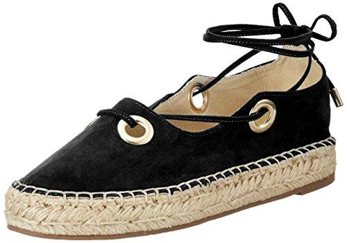 La Strada Damen 964098 Espadrilles, Schwarz (Black), 38 EU (Leder-ankle-strap Schuhe)