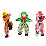 SPARIK ENJOY 3 Packs Clown Hand Marionette Puppet Children's Wooden Marionette Toys Colorful Marionette Puppet Doll Parent-Child Interactive Toys-Yellow And Red