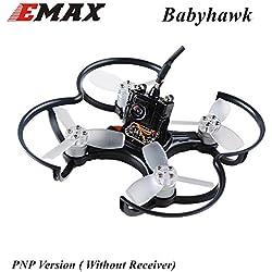 FPV Drohne mit Kamera EMAX BabyHawk PNP 85mm Mirco FPV Racer Drone Brushless (1104 5000kv Brushless Motor, Femto F3 Flight Controller, All-in-One Kamera, VTX 25MW CMOS, Bullet 6A BLHeli_S Plug-In ESC) Schwarz