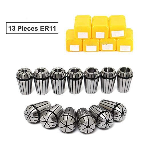 ER11Spannzangen Set, 13Teile ER11Spannzange CNC Spindel er-11Spannzange Prägedrehbank Werkzeug Halter von 7mm für CNC-Fräsen Schaum