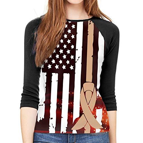 Childhood Cancer Awareness USA Flag Womens 3/4 Sleeve Raglan Shirts -
