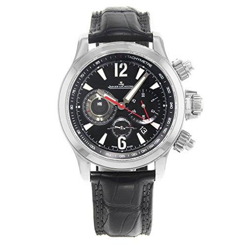 Jaeger LeCoultre Chronograph Kompressor Galvanischen Leder Meister Uhr Schwarz Herren Zifferblatt