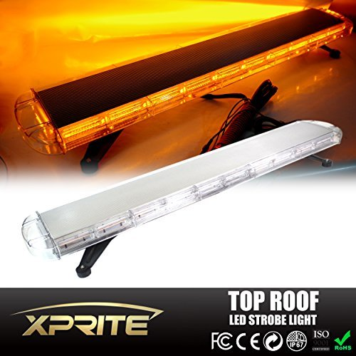 Xprite Amber / Yellow 88 LED 220W 47 COB High Intensity 28 Modes Law Enforcement Emergency Hazard Warning Flashing Car Truck Construction LED Top Roof Strobe Light Bar With Mount Base by Xprite