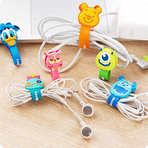 Smile Pick Cartoon Cable Winder Wave Style Headphone Earphone USB Cable Wire Organizer Cord Holder(2 Pieces)(Random)