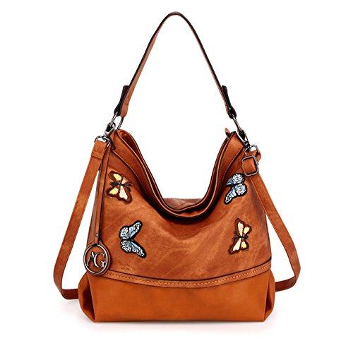 LeahWard Damenmode Mittlerer Schulter Handtaschen Weiche Zipper Faux Ledertaschen 00529 (Braun Schmetterlings Tasche) (Butterfly Hobo Bag)