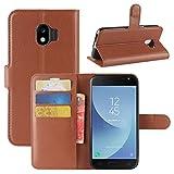 HualuBro Galaxy J2 Pro 2018 Hülle, Premium PU Leder Leather Wallet Handyhülle Tasche Schutzhülle Case Flip Cover mit Karten Slot für Samsung Galaxy J2 Pro 2018 Smartphone (Braun)