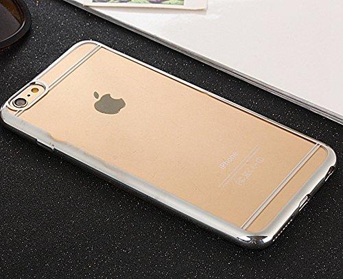 EKINHUI Case Cover Für Apple IPhone 6 u. 6s Abdeckungs-Fall ultra dünne transparente galvanisierende TPU Gel-rückseitige Abdeckung weiche schützende Stoßabdeckung ( Color : Silver ) Silver