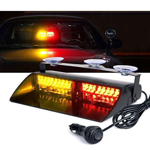 Xprite RED & Yellow 16 LED High Intensity LED Law Enforcement Emergency Hazard Warning Strobe Lights For Interior Roof / Dash / Windshield With Suction Cups by Xprite (Dash Emergency Lights)