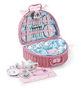Fairy Tale PICNIC BASKET and Tea Set for Kids (32 Piece China Tea Set) Pink - Lucy Locket