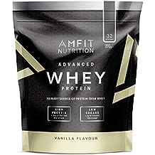 Marca Amazon - Amfit Nutrition Proteína Whey de suero de leche sabor vainilla, 32 porciones,  990 g